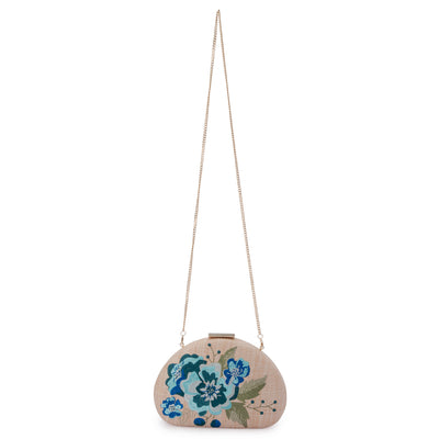 Olga Berg Flora Blue Embroidery Clutch Chain View
