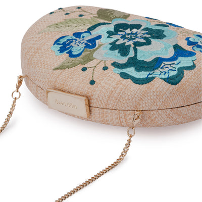 Olga Berg Flora Blue Embroidery Clutch Detail View