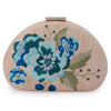 Olga Berg Flora Blue Embroidery Clutch Front View