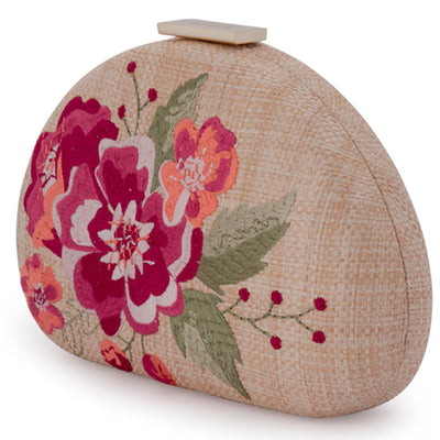 Olga Berg Flora Pink Embroidery Clutch Side View