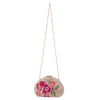 Olga Berg Flora Pink Embroidery Clutch Chain View