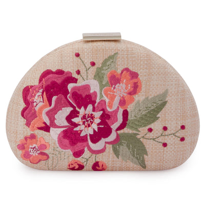 Olga Berg Flora Pink Embroidery Clutch Front View