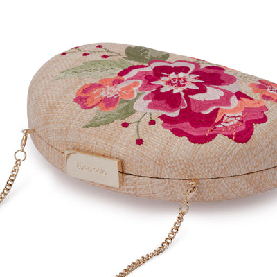 Olga Berg Flora Pink Embroidery Clutch Detail View