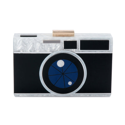 Olga Berg | Snap Camera Acrylic Pod | Black | Evening Bag