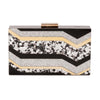 Olga Berg Camilla Glitter Acrylic Clutch evening bag in Multi colourway showing front view