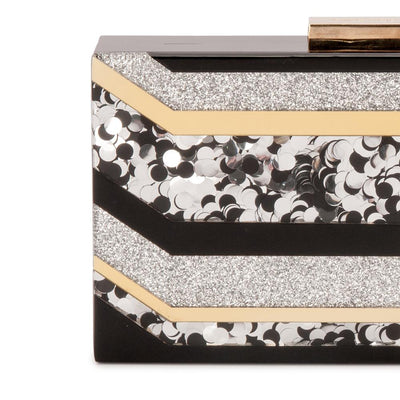 Olga Berg Camilla Glitter Acrylic Clutch evening bag in Multi colourway showing detailed close up