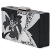 Olga Berg Allie Black Floral Acrylic Clutch Side View