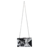 Olga Berg Allie Black Floral Acrylic Clutch Chain View