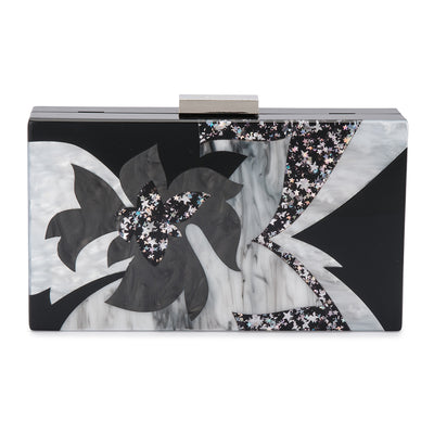 Olga Berg Allie Black Floral Acrylic Clutch Front View
