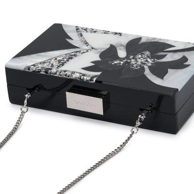 Olga Berg Allie Black Floral Acrylic Clutch Detail View