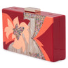Olga Berg Allie Orange Floral Acrylic Clutch Side View
