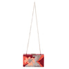 Olga Berg Allie Orange Floral Acrylic Clutch Chain View