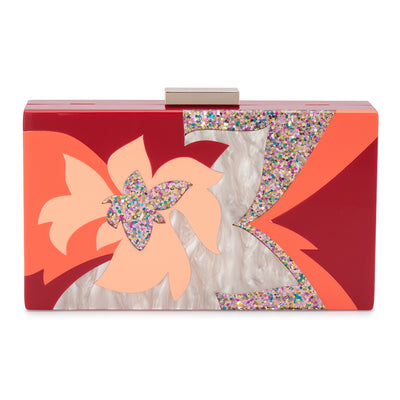 Olga Berg Allie Orange Floral Acrylic Clutch Front View