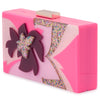 Olga Berg Allie Pink Floral Acrylic Clutch Side View
