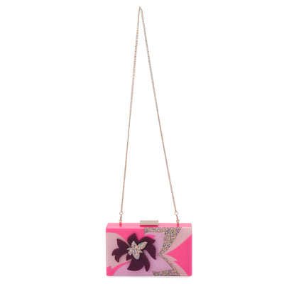 Olga Berg Allie Pink Floral Acrylic Clutch Chain View