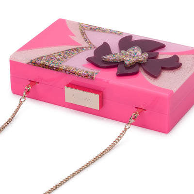 Olga Berg Allie Pink Floral Acrylic Clutch Detail View
