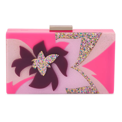 Olga Berg Allie Pink Floral Acrylic Clutch Front View