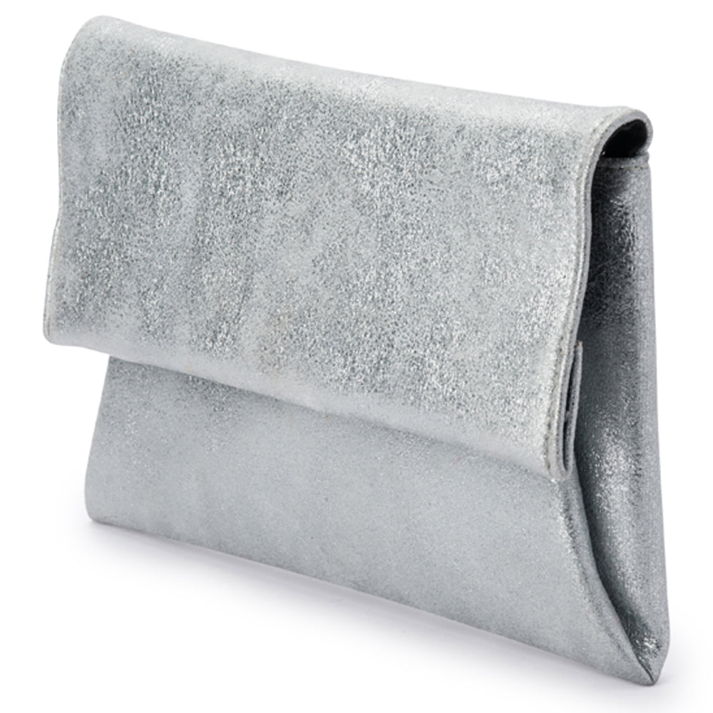 2bfd40467a2 Brooke Soft Silver Envelope Clutch Side View
