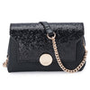Mckenzie Black Shoulder Bag Glitter Up Close Front View