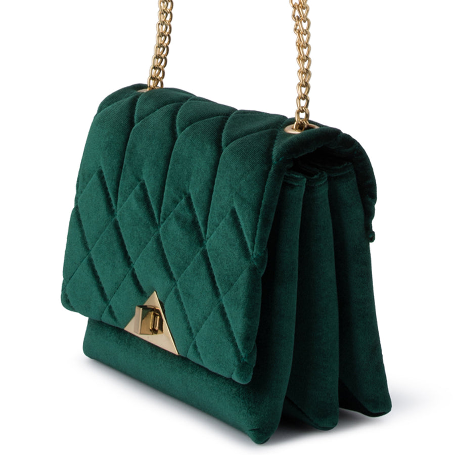 Olga Berg ALEXI Quilted Velvet Shoulder Bag