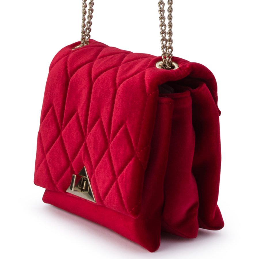 ALEXI Quilted Velvet Shoulder Bag