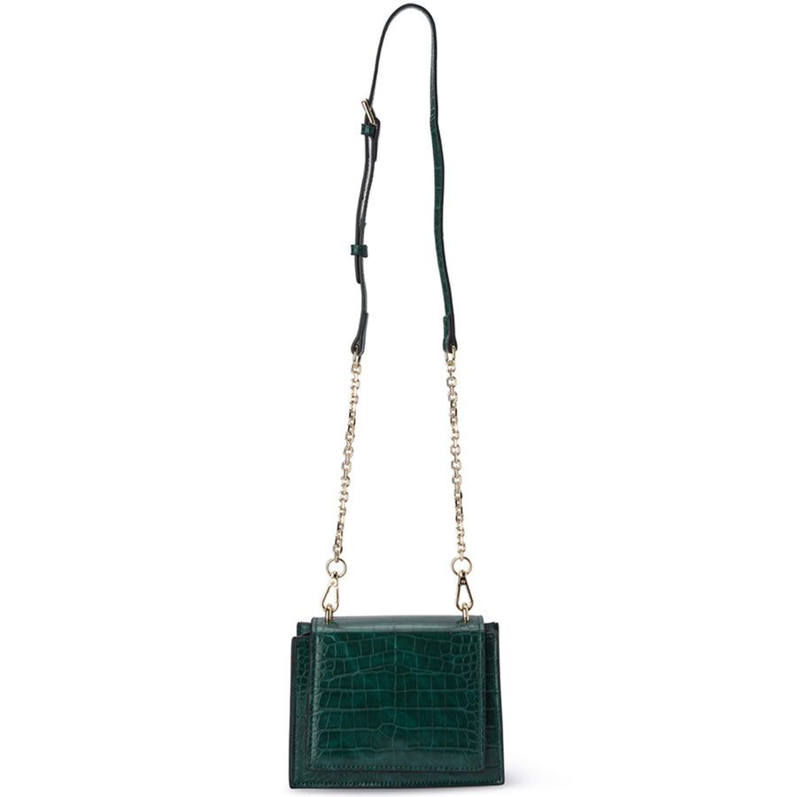 Olga Berg MOLLI Croc Embossed Top Handle Bag