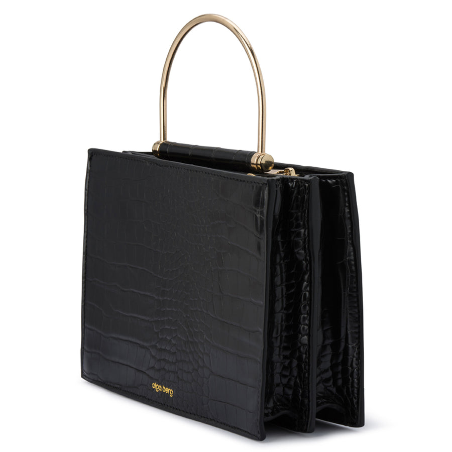 Olga Berg FLOSS Square Croc Metal Handle Bag