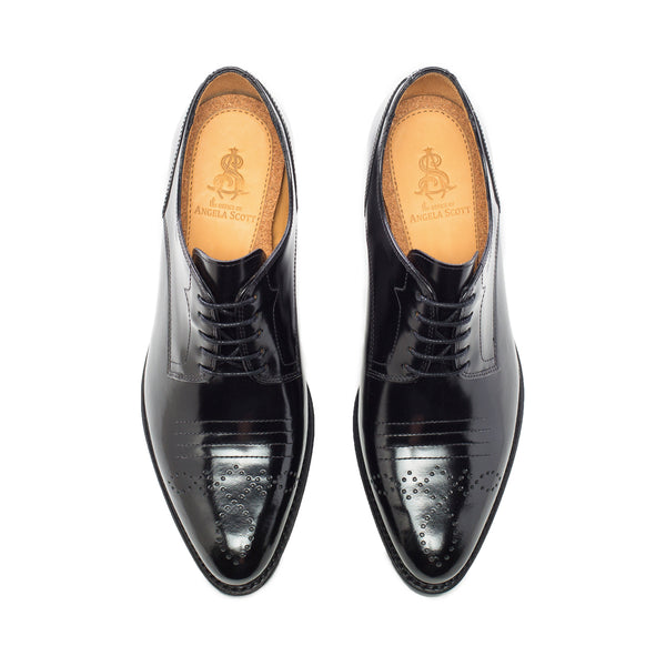 Miss Button Black Leather Women's Mid Heel Oxford