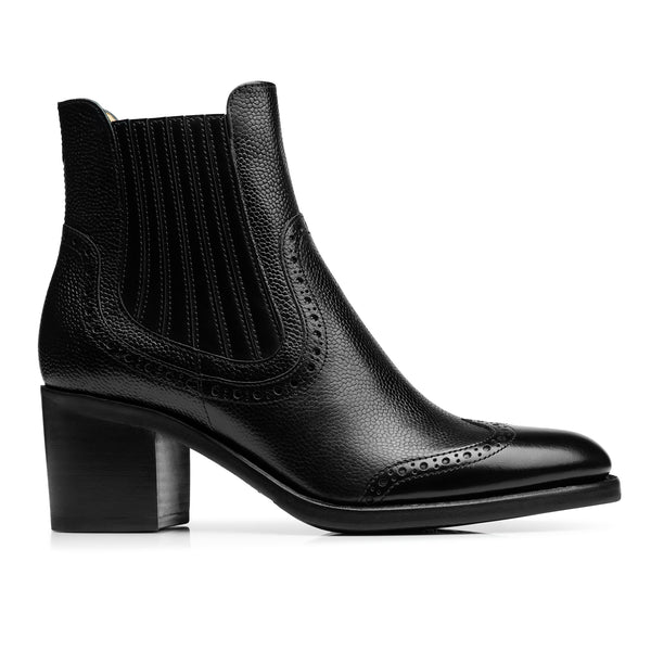Miss Scott Black Leather Women's Wingtip Chelsea Boot