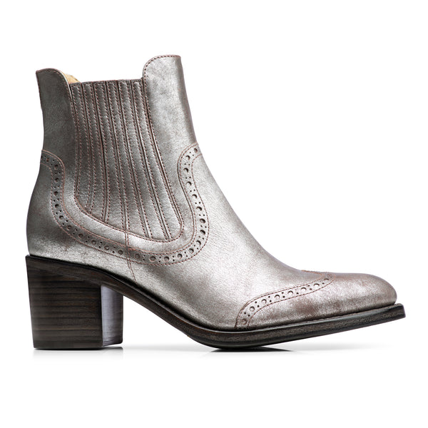 Miss Scott Silver Metallic Leather Women's Chelsea Boot