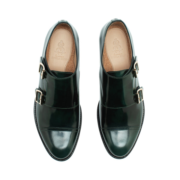 Mr. Colin Hunter Green Leather Women's Double Monkstrap Oxford