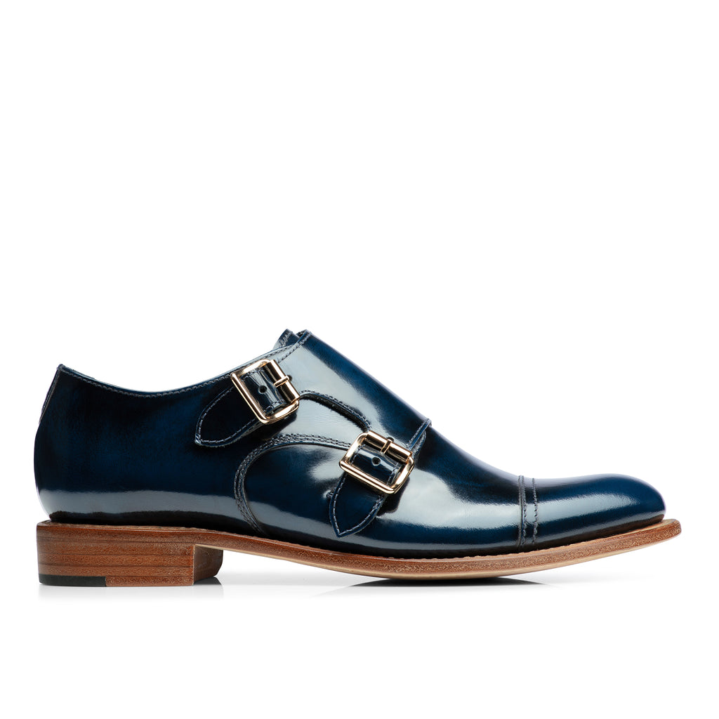 Mr. Colin Navy Leather Women's Double Monkstrap Oxford