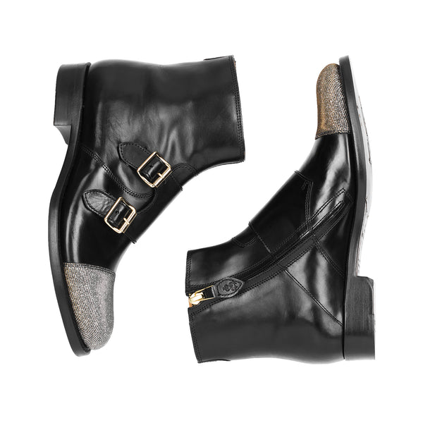 Mr. Dean Black Leather & Metallic Women's Monkstrap Boot