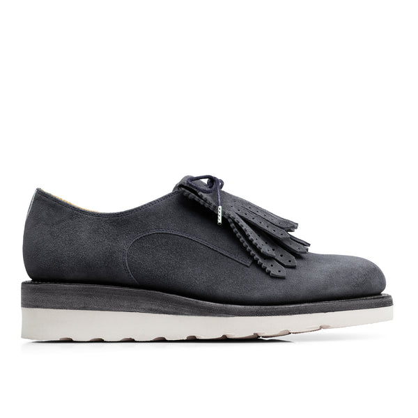 Mr. Derby Navy Leather Women's Wedge Oxford