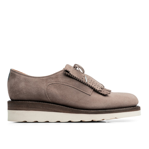 Mr. Derby Taupe Leather Women's Wedge Oxford