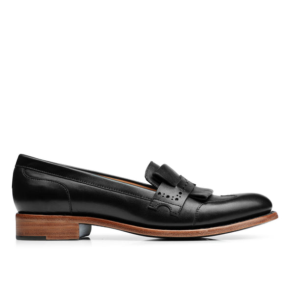 Mr. Dickie Black Leather Women's Penny Loafer