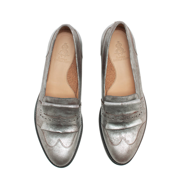Mr. Dickie Silver Metallic Leather Women's Penny Loafer