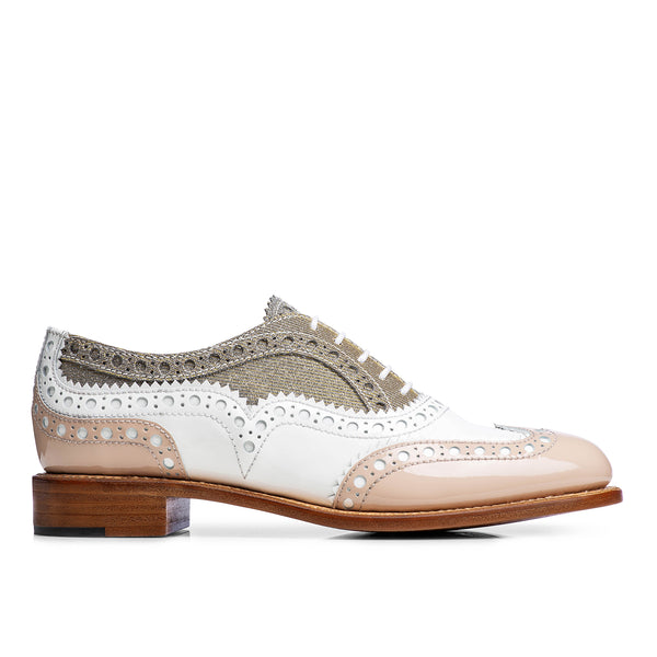 Mr. Doubt Nude, White & Silver Leather Women's Wingtip Brogue Oxford