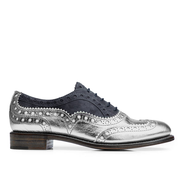 Mr. Doubt Silver Leather & Blue Grey Suede Women's Wingtip Brogue Oxford