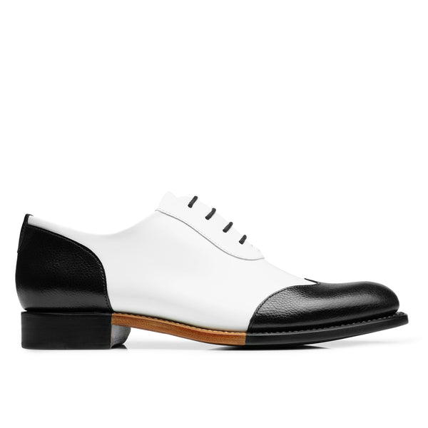 Mr. Evans Black & White Leather Women's Wingtip Oxford