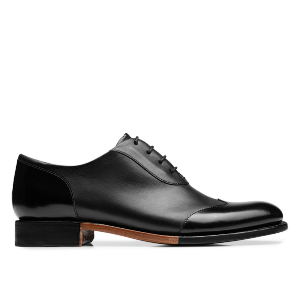 Mr. Evans Black Leather Women's Wingtip Oxford