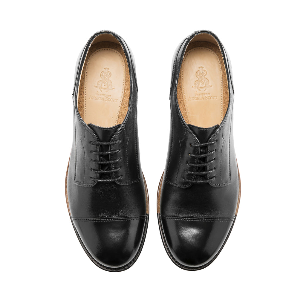 Mr. Franklin Black Leather Women's Toe Cap Oxford
