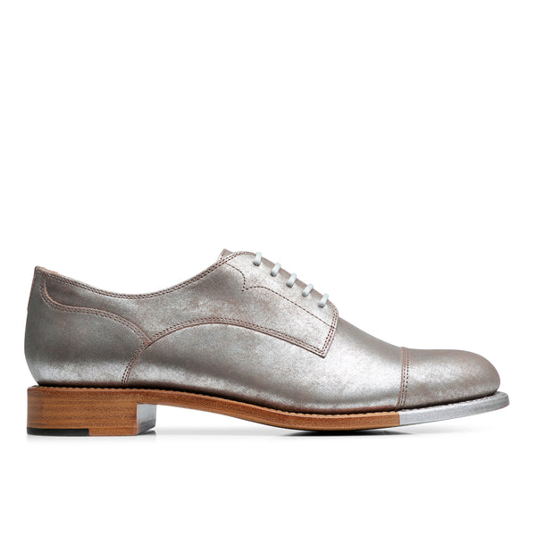 Mr. Franklin Silver Metallic Leather Women's Toe Cap Oxford
