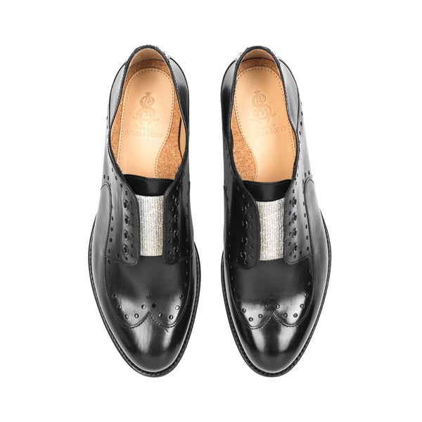 Mr. Gordon Black Leather Women's Slip On Wingtip Oxford