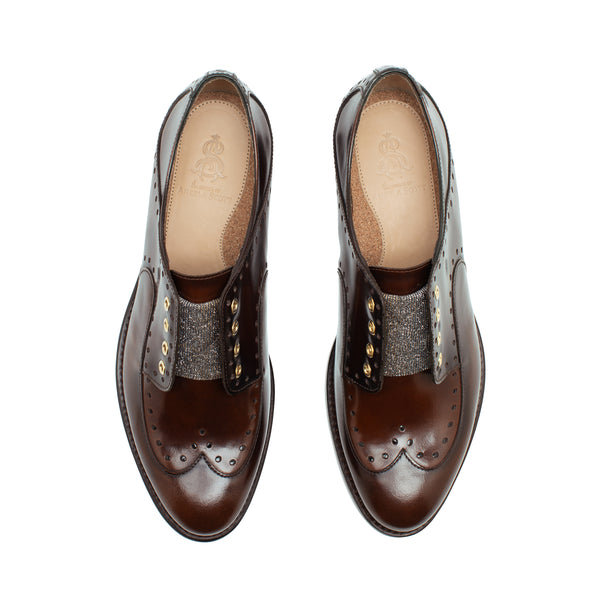 Mr. Gordon Brown Leather Women's Slip On Wingtip Oxford