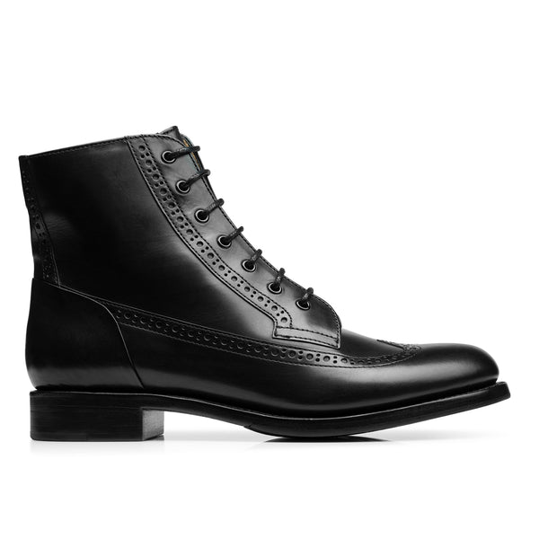 Mr. Harrison Black Leather Women's Lace Up Combat Boot