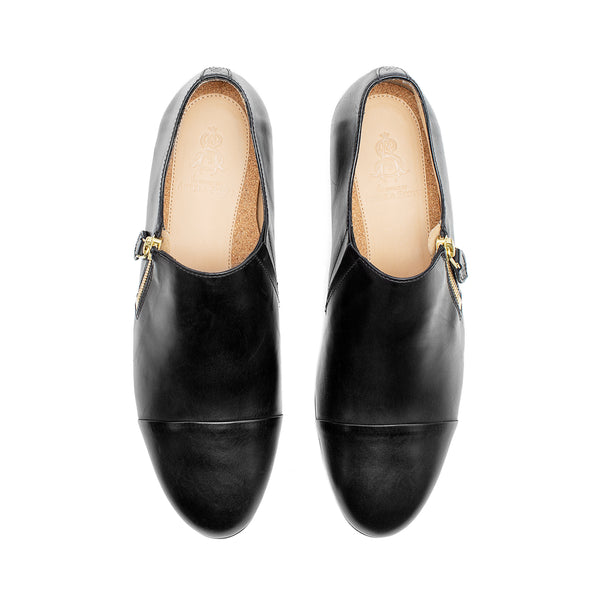 Mr. Holly Women's Black Leather Zip Flat