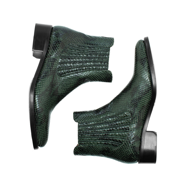 Mr. Jagger Hunter Green Snake Print Leather Women's Chelsea Boot