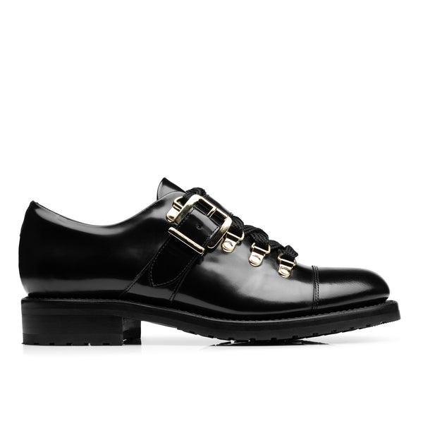 Mr. Logan Black Leather Women's Lug Oxford