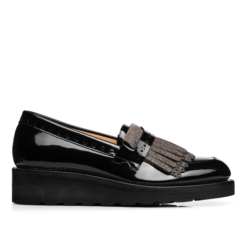 Mr. Pennywise Black Metallic Patent Leather Women's Wedge Loafer